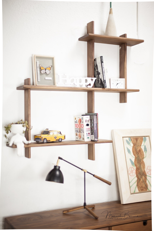 Floating Shelf Solid Wood Shelf Bookshelf Wall Shelving Unit Entryway Shelf Storage Shelf In Oak Or Walnut Wood
