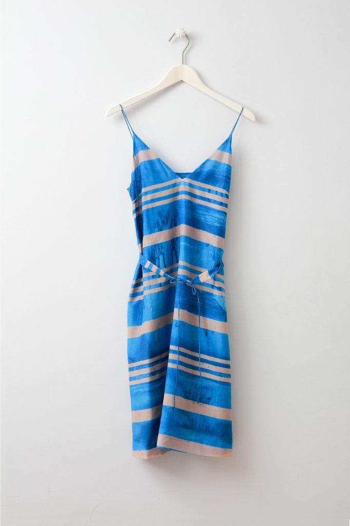 Cory Silk Print Dress Knee length cotton silk blend printed dress with belt from uber cool Swedish brand Whyred.