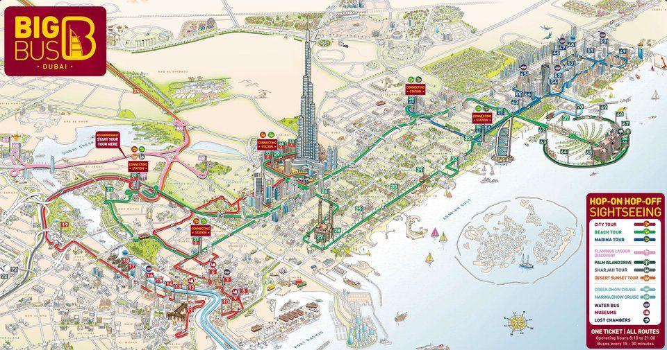 Big Bus Tour Map Of Dubai Mapporn Dubai Map Dubai Tourist Attractions Tourist Map