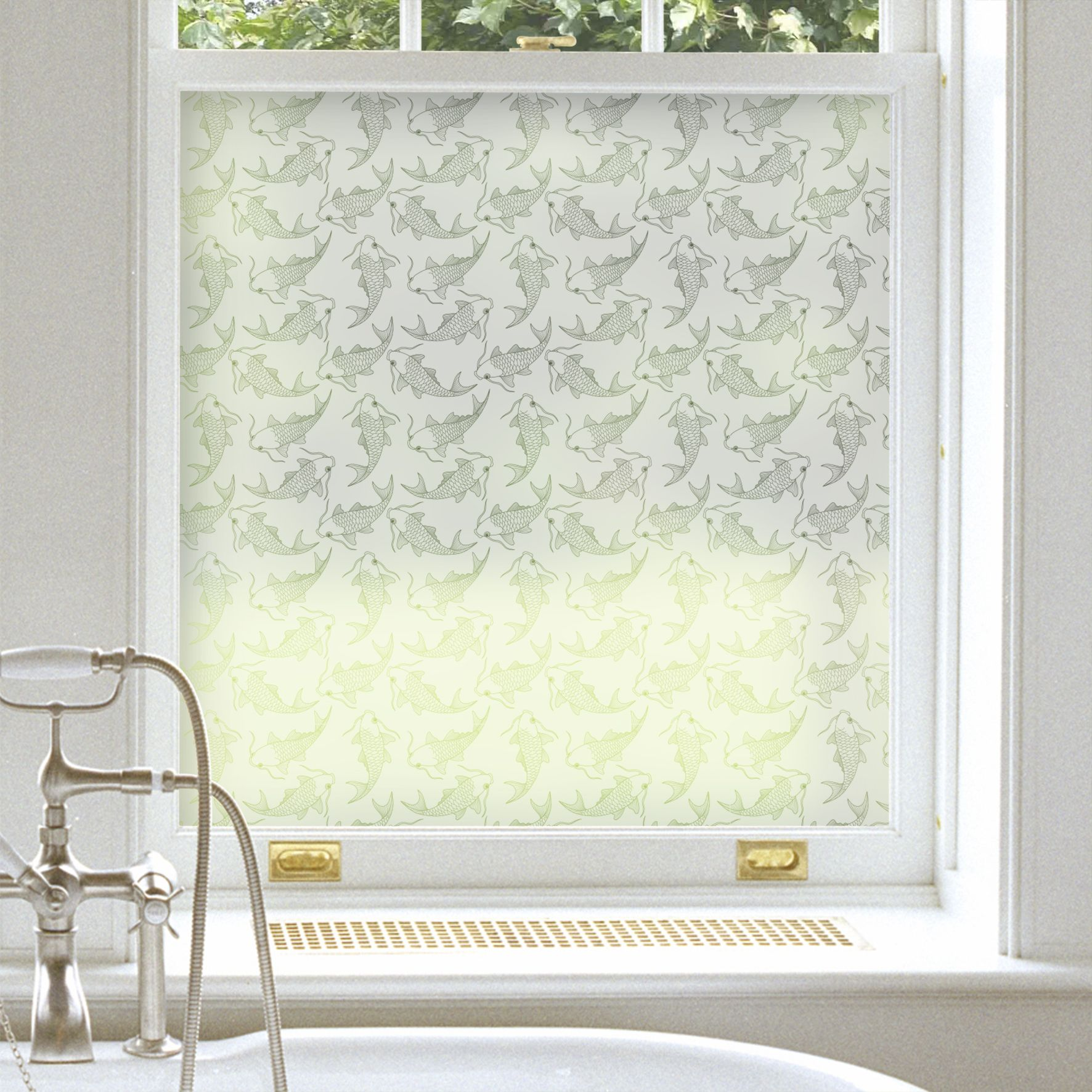 "Koi Carp"" frosted glass film ideal for a bathroom window"