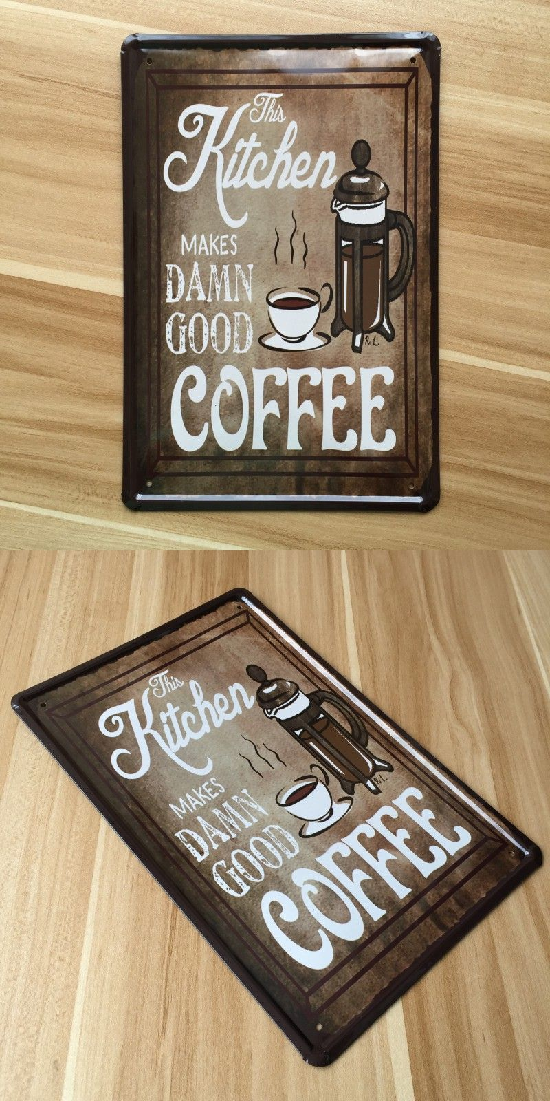 vintage painting metal wall art decor retro home bar coffee hot