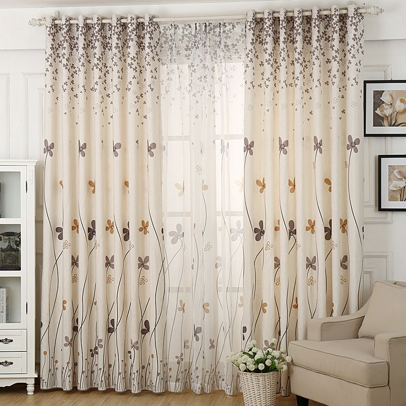 Herb Printed Rustic Curtains For Living Room Faux Linen Curtains For