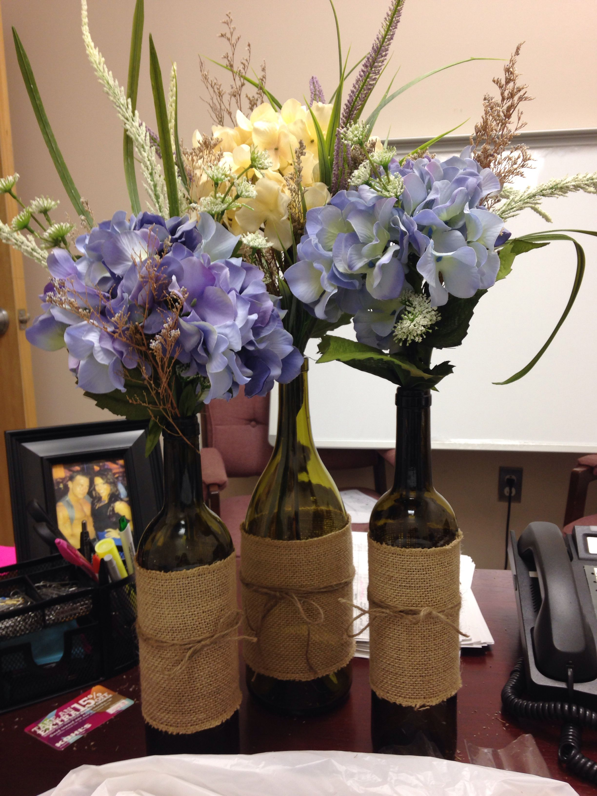 Recycled Wine Glasses With Burlap And Twine Filled With A