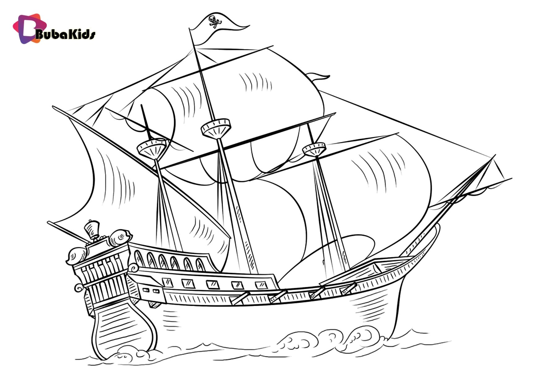 Pin By Coloring Pages Bubakids On Cartoon Coloring Pages In 2020 Ship Drawing Drawing Tutorial Pirate Ship Drawing