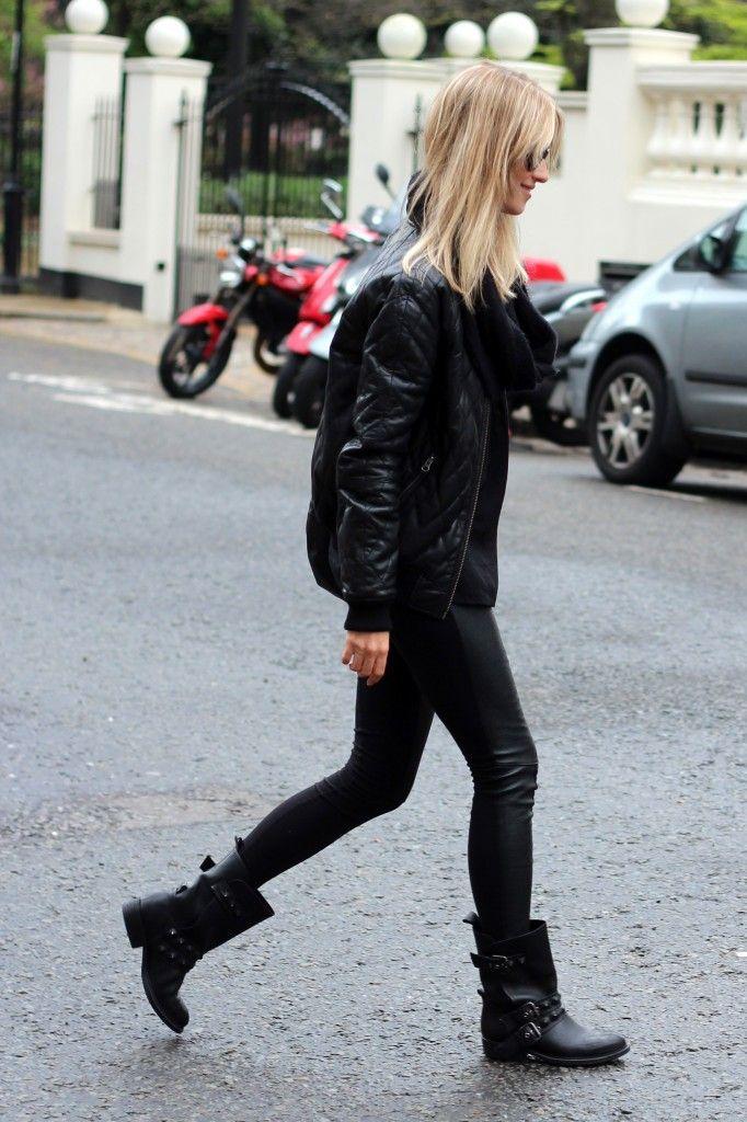 dress with biker boots
