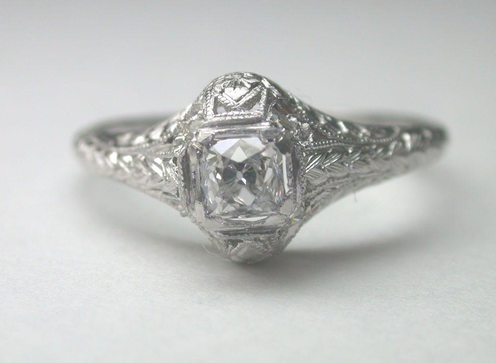 Antique French Diamond Engagement Ring Platinum Art Deco Vintage Estate Wedding