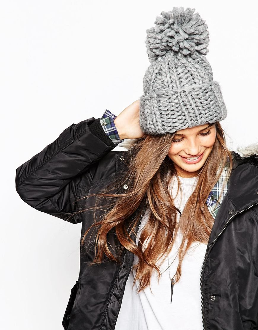 ASOS Extra Chunky Beanie With Extra Large Pom  d06e693f257