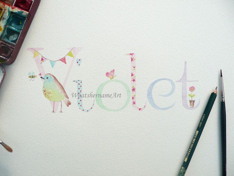 Name Art,Original Watercolour Painting, Custom Name, Baby Girl's Room, Girl's Decor. by WhatshernameArt on Etsy https://www.etsy.com/listing/252010570/name-artoriginal-watercolour-painting