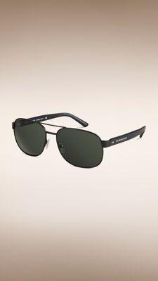 Square Frame Aviator Sunglasses Shiny Black