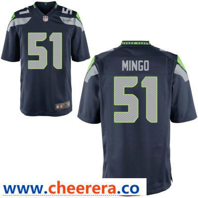 281e6f66e Men s Seattle Seahawks  51 Barkevious Mingo Navy Blue Team Color Stitched  NFL Nike Game Jersey