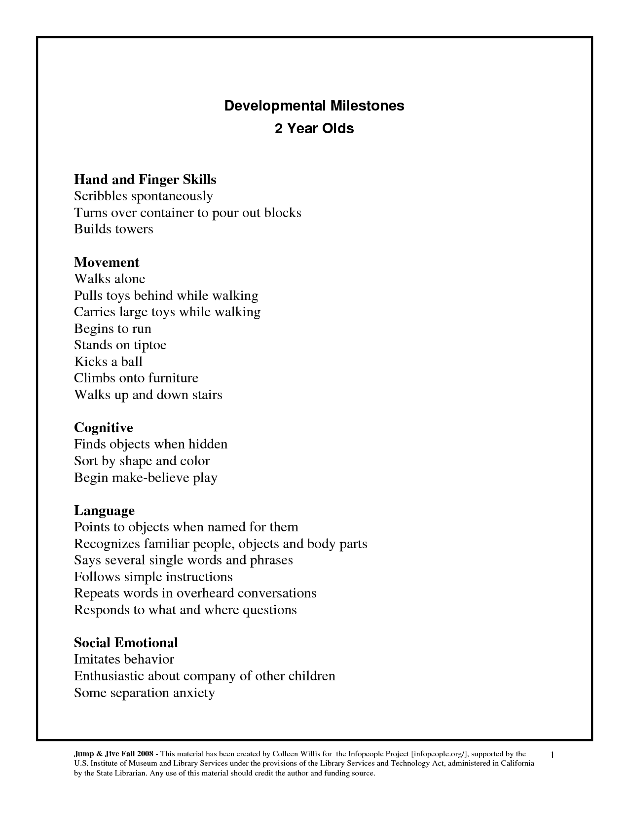 Developmental Milestones Checklist For 2 Year Olds With