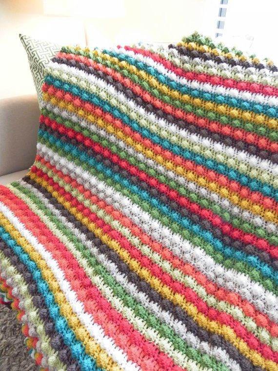 Striped Colorful Bobble Stitch Crochet Afghan | Pinterest | Decken ...