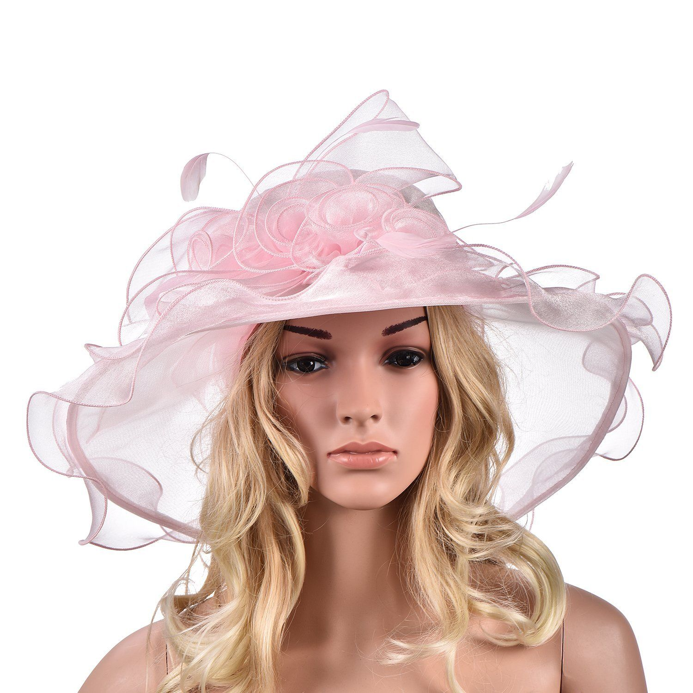 Womens Ladies Organza Dress Church Kentucky Derby Wide Brim Feather Wedding  Veil Sun Formal Royal Ascot Hat A341 (Navy Blue)  Amazon.co.uk  Clothing 73b9fca814d