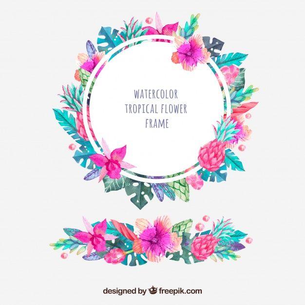 Marco redondo de flores tropicales de acuarela y ornamento Vector ...