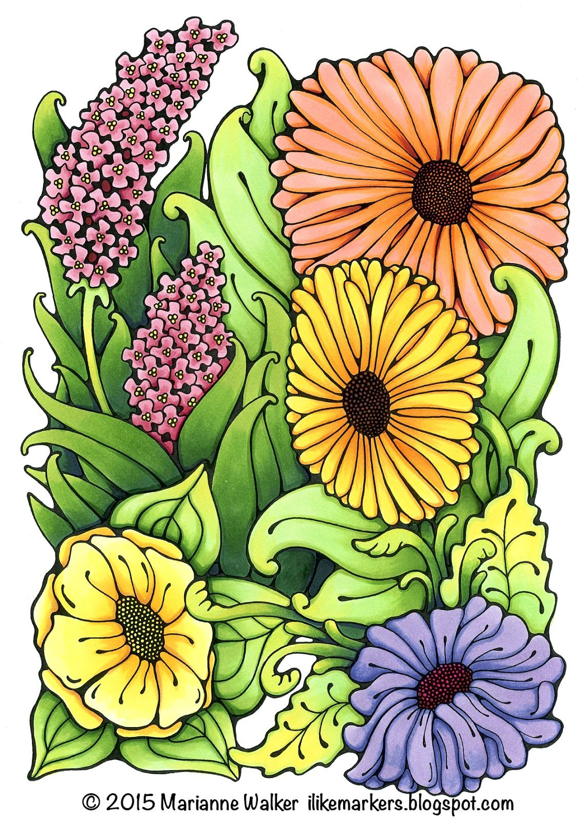 I Like Markers: Coloring leaves with extra depth | Copic -- floral ...