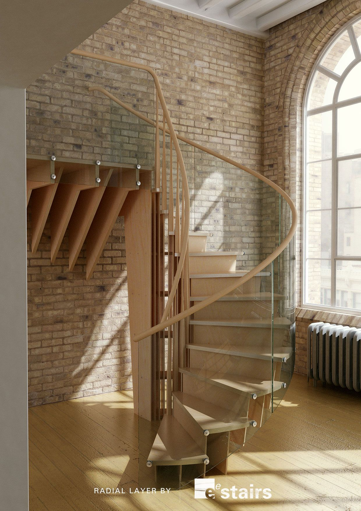 Radial layer timber, with glass balustrade