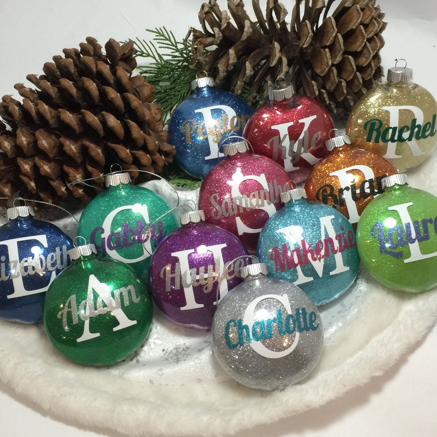 Personalized glitter ornaments by gemlights on etsy cameo