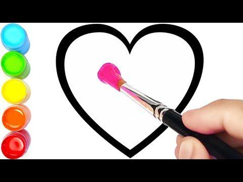 menggambar dan mewarnai 6 bentuk hati #2 warna warni