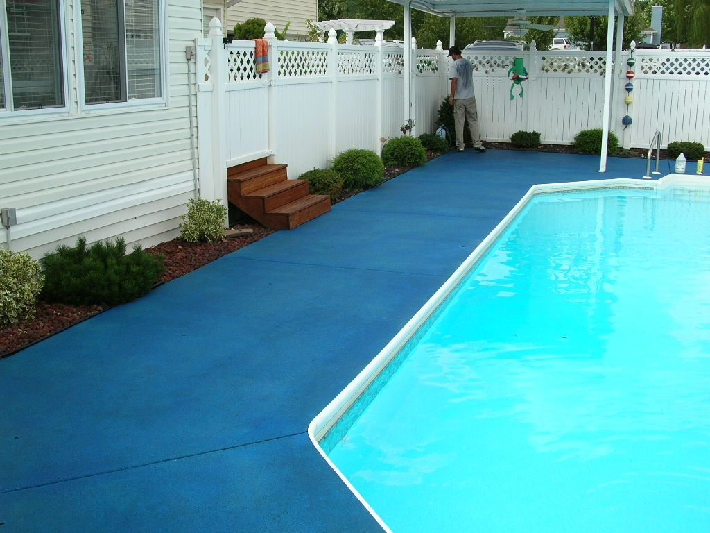 Colored Concrete Pool Deck Trojan Color On Pool Deck Ocean Blue  Colored Concrete