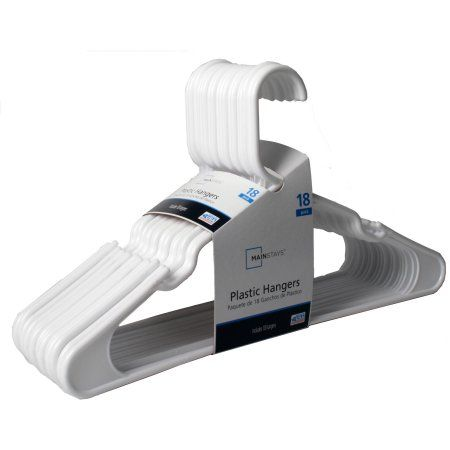 Mainstays 18 Pack Plastic HANGER - WHITE - Walmart.com | Utilities ...