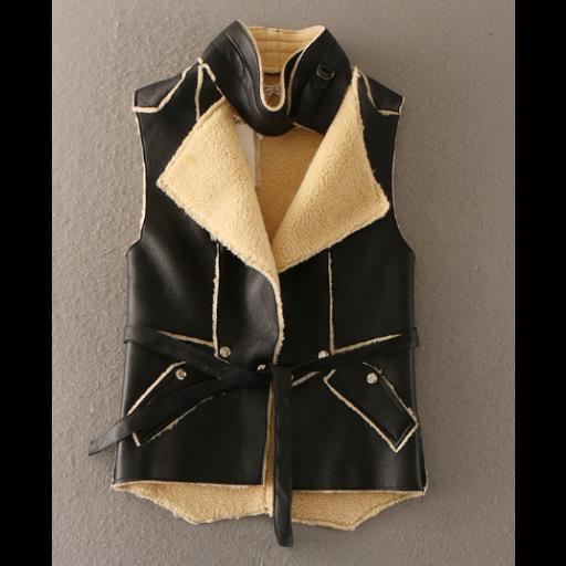 جاكيتات جلد نسائية مبطنة بالصوف جاكيتات كت بدون أكمام بياقة هاينك جاكيتات بتصميم عصري بخطوط مميزة من الجلد Leather Backpack Leather Leather Jacket