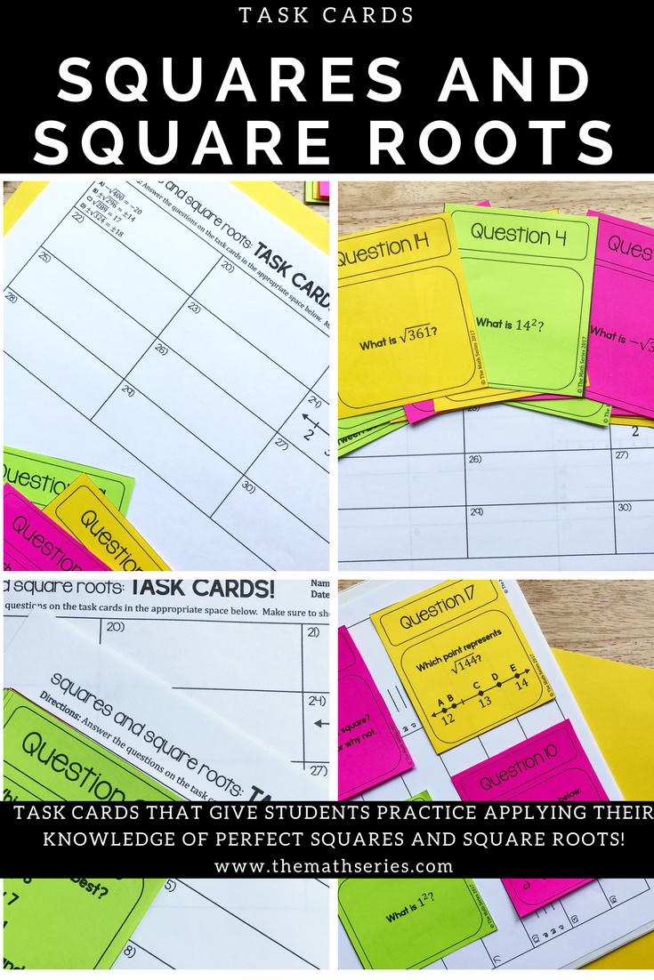 Workbooks perfect square worksheets 8th grade : Squares and Square Roots Task Cards | Square roots, Middle school ...