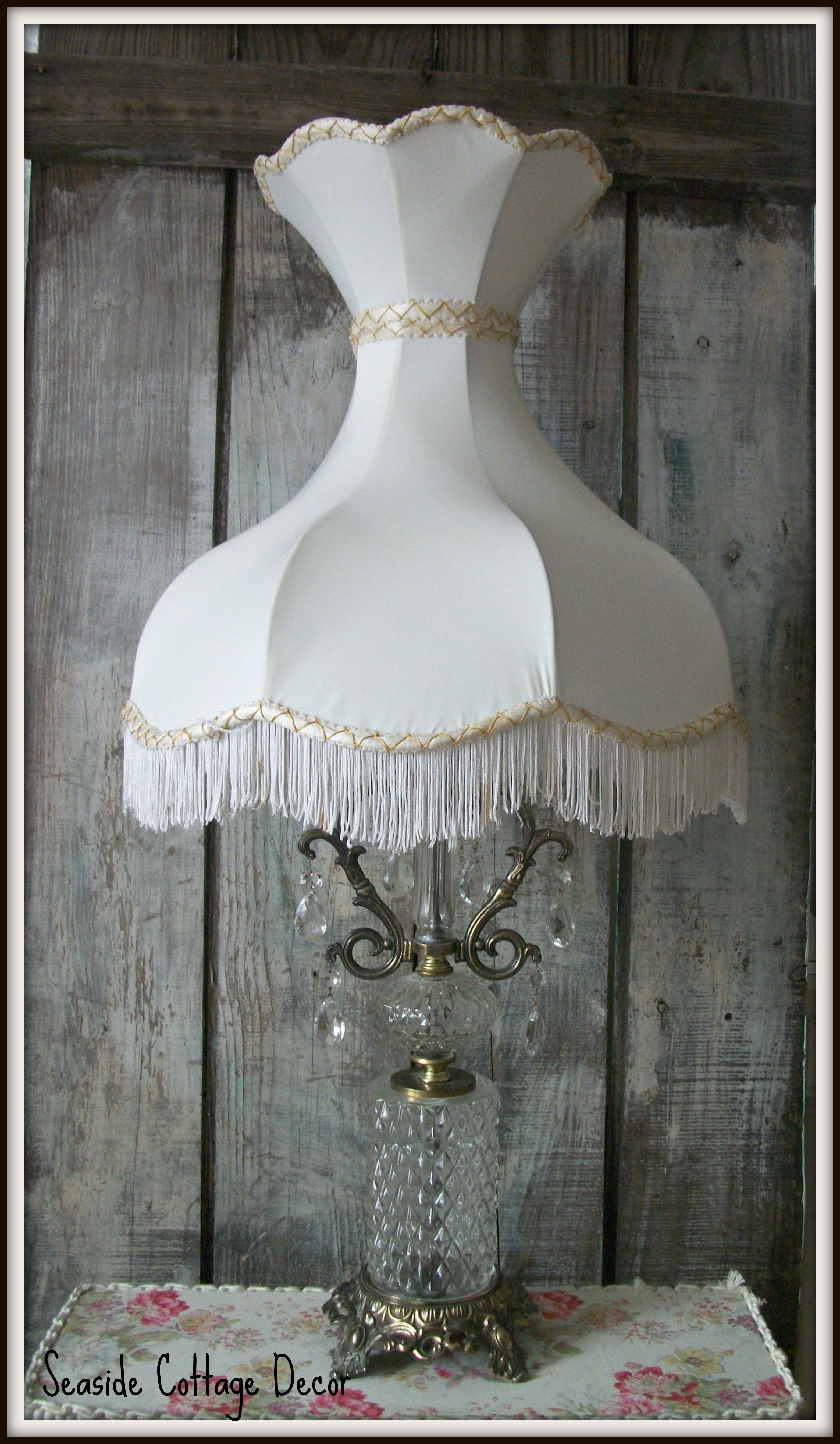 Vintage shabby chic crystal chandelier lamp huge silk shade vintage shabby chic crystal chandelier lamp huge silk shade ornate amazing https arubaitofo Images