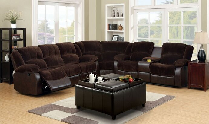 Cm6556cp Sec 3 Pc Winchester 2 Tone Dark Brown Champion Fabric Leather Like Vinyl Sectional Sofa Set Sectional Sofa Couch Sectional Sofa Brown Sofa Living Room