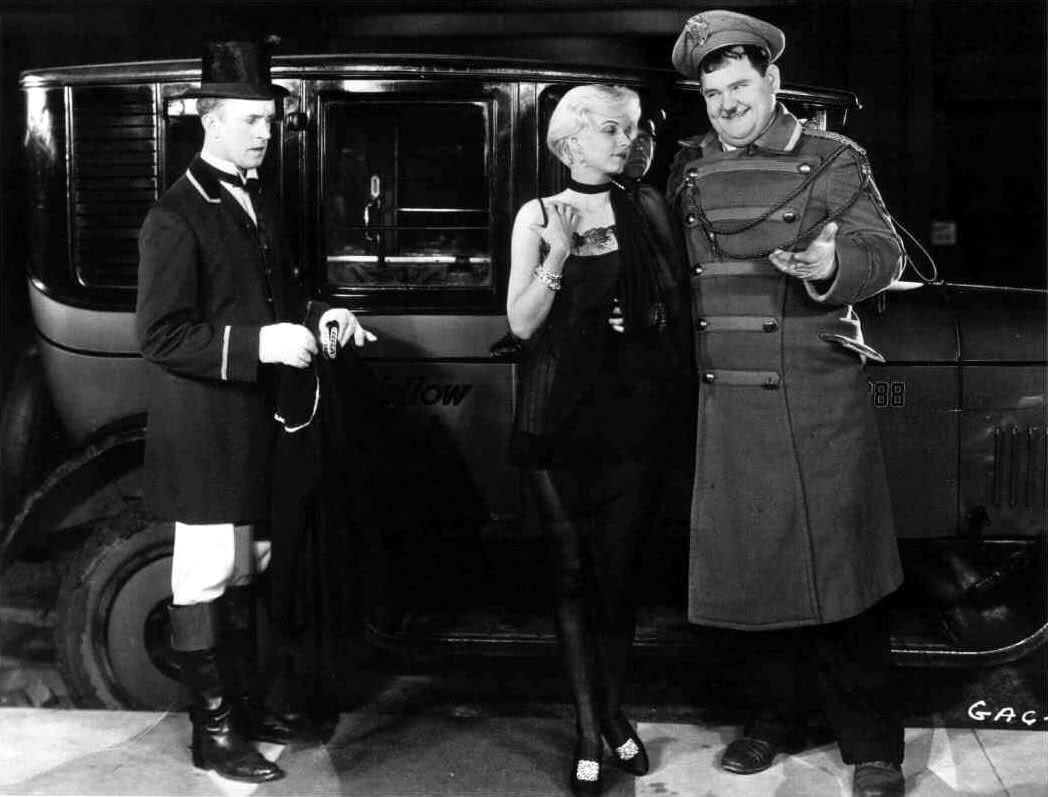 "Jean Harlow with Laurel and Hardy in ""Double Whoopee"", 1929. (With ..."