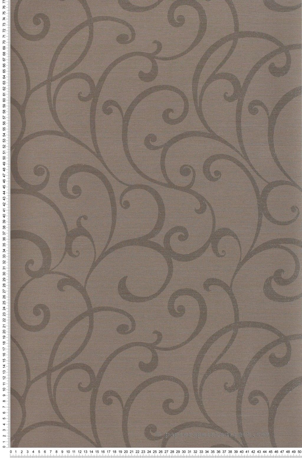 Papier peint Ornemental Sevilla Taupe et chocolat métallis ...