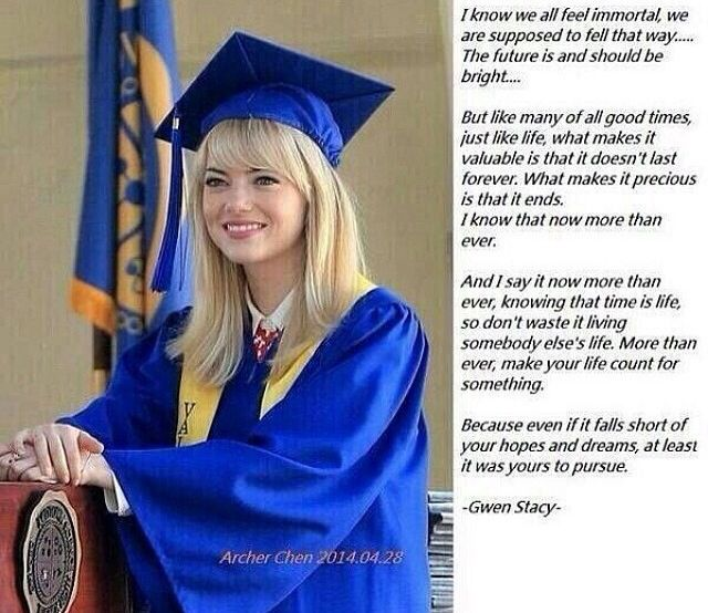 gwens graduation speech in spider man 2