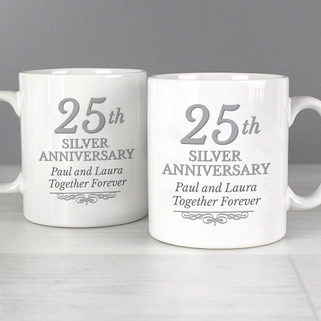 Personalised 25th Silver Anniversary Mug Set Silver