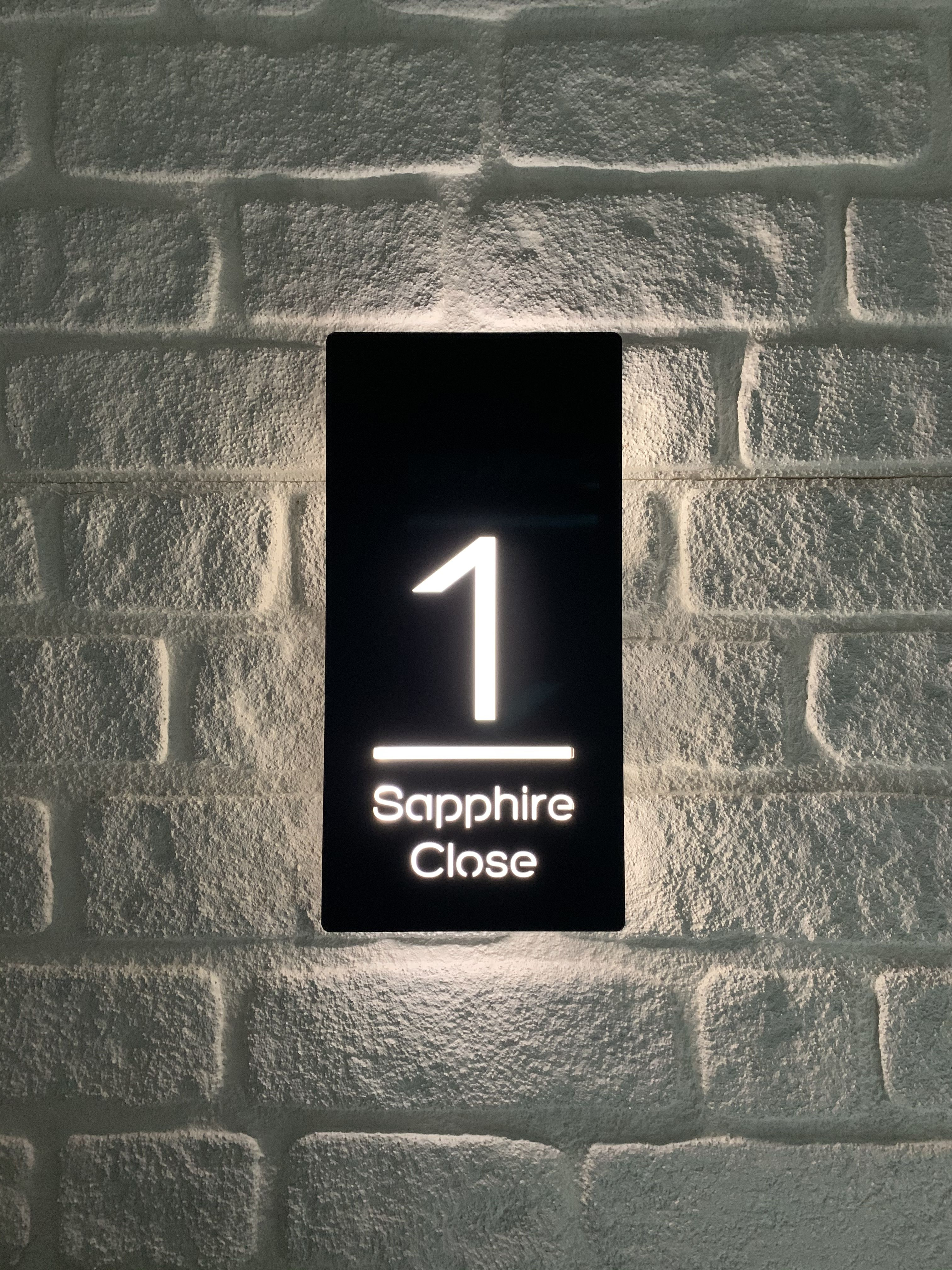 Back Lit Modern House Sign Number Plaque Modern House Numbers Sign Illuminated Signs Name Plate Design