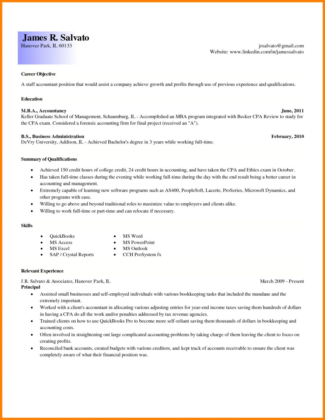 Entry Level Resume Accounting Samples Summary For Template