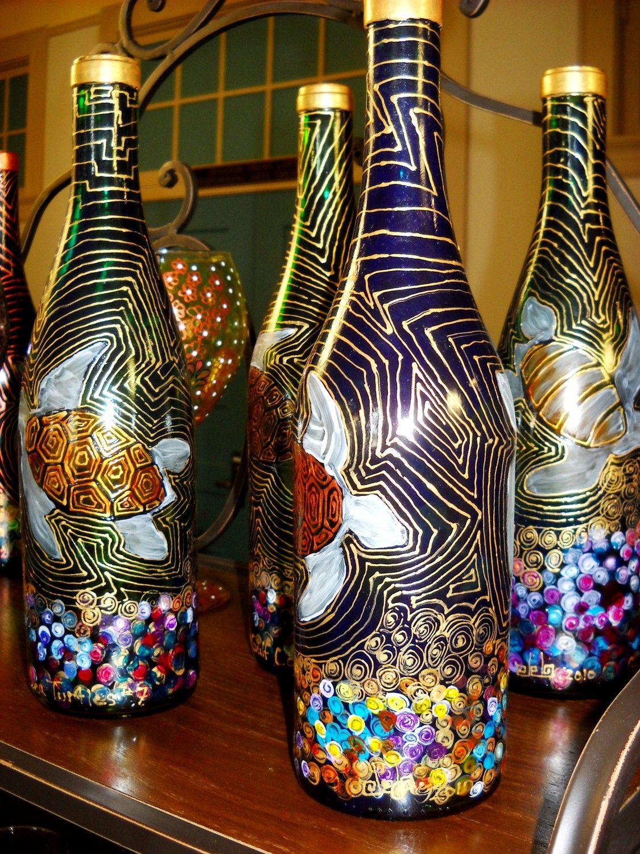 Bottle art hand painted painted vase sea turtles message
