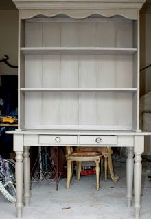 Items Similar To Refurbished French Grey Hutch And Desk Table On Etsy