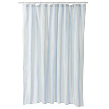 Home Classics Meridian Striped Fabric Shower Curtain Shower