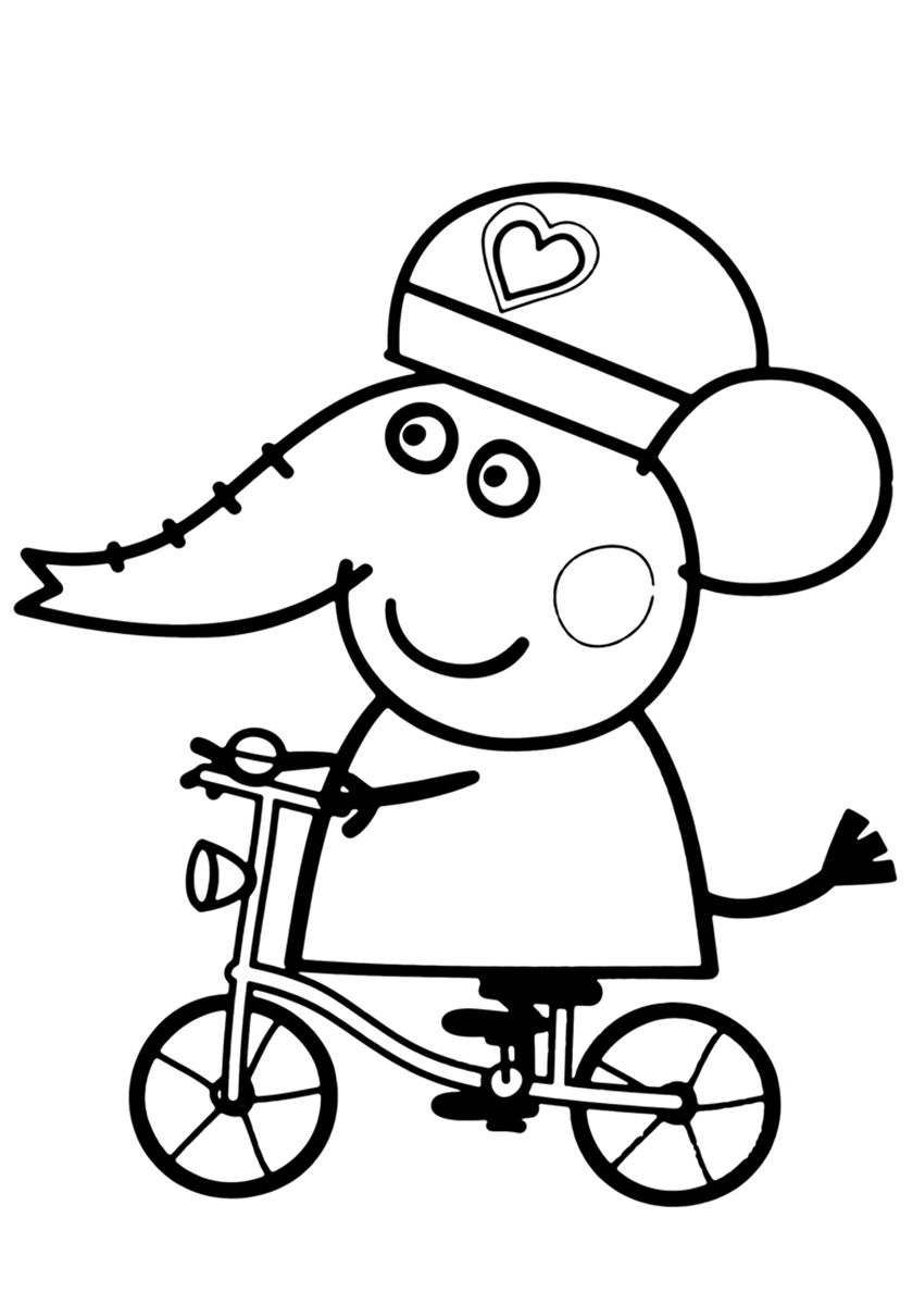 Emily Elephant On A Bicycle High Quality Free Coloring From The