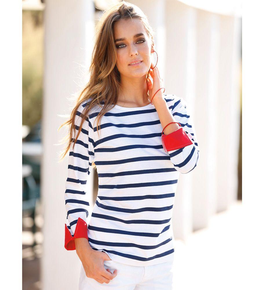 0862a35aeec6b Camiseta mujer rayas marineras Mujer 30 Venca