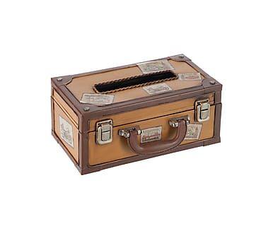 Caja para pañuelos en metal Travel - marrón