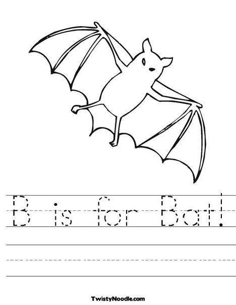 B Is For Bat Worksheet Bat Coloring Pages Nocturnal Animals Bats Unit