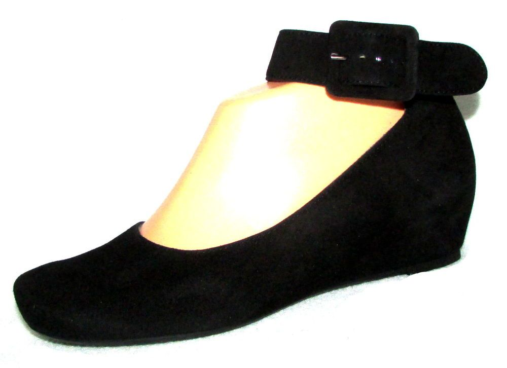 wholesale dealer 744b9 72d04 NEW PAUL GREEN MUNCHEN Black Suede Ankle Strap Buckle Wedge ...