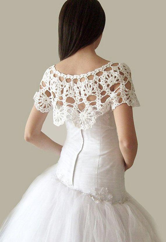 SALE Crochet Lace Bridal Shrug Wrap Capelet Weddings by vara ...