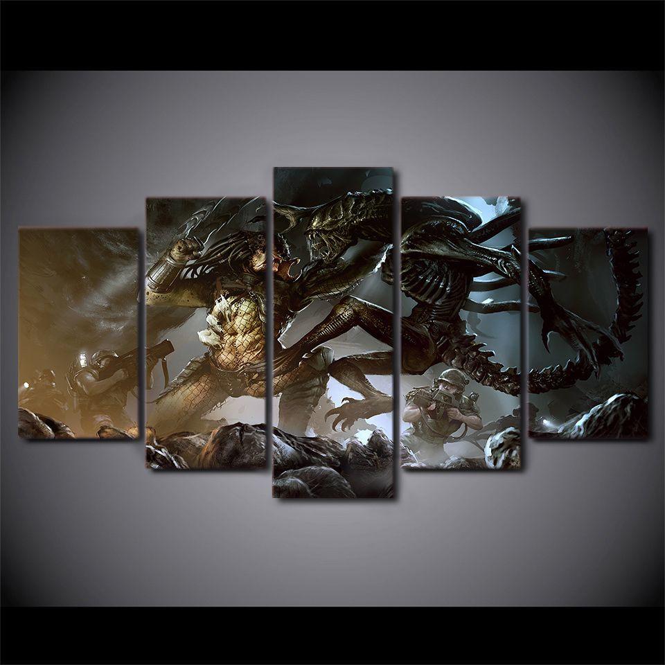 5 pcs alien vs predator alien wall picture home