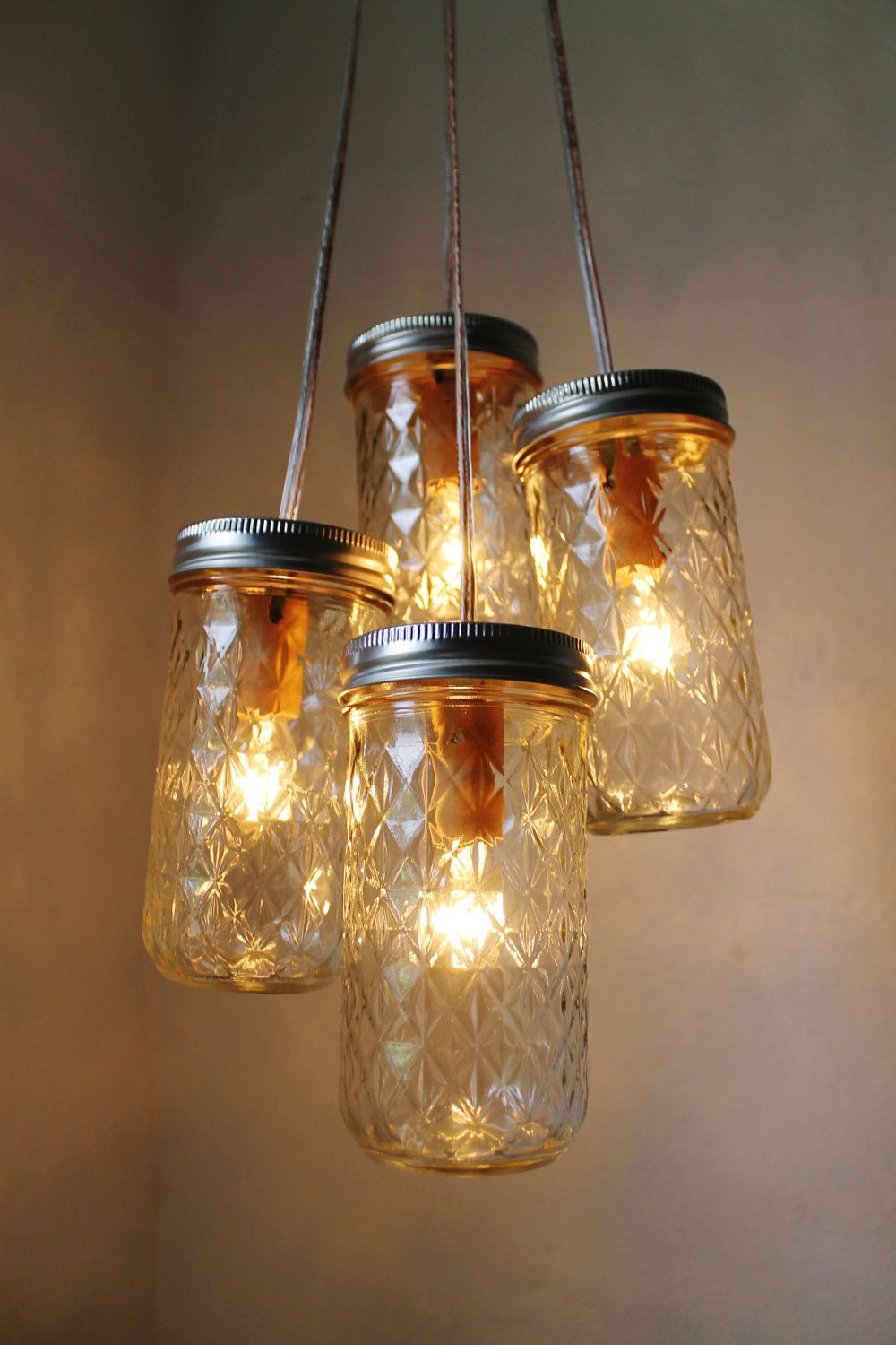 Firefly Dance Mason Jar Chandelier - 4 Quilted Pint Jars ... for Fireflies In A Jar Cover Photo  75tgx