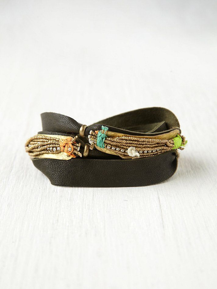 Free People Gold Spun Leather Cuff, $270.00
