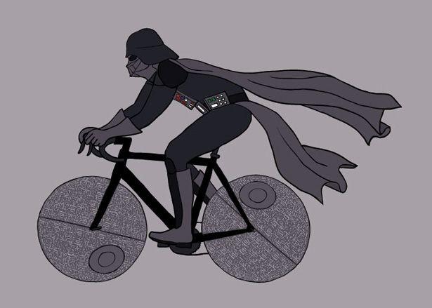 Personajes de Star Wars en bicicleta