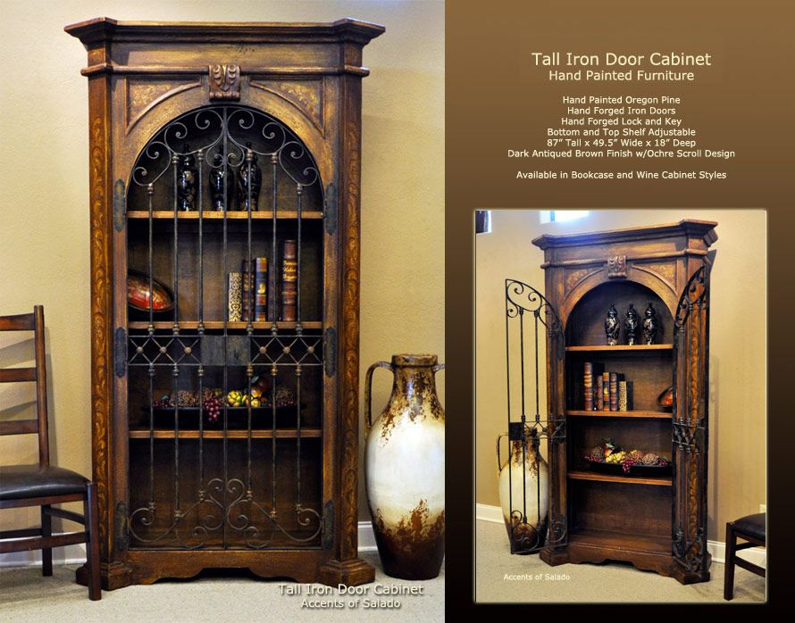 Old World Dining Room Furniture Tall Iron Door Cabinet Hand Painted