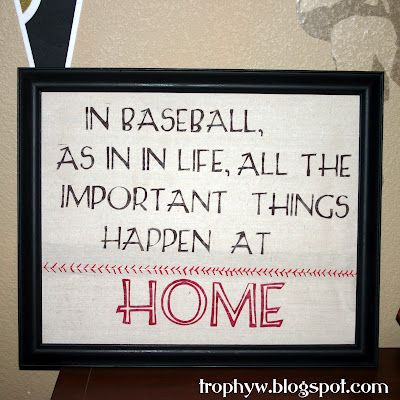"""Change to """"All important things happen at home"""" but obviously still with baseball theme"""