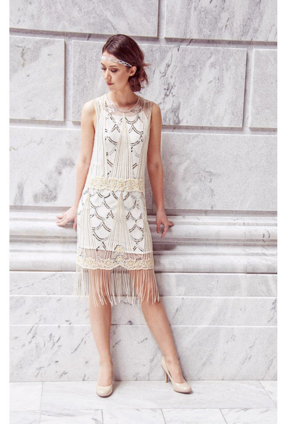 1920's Vintage Silk Beaded Fringe Gatsby Wedding Dress